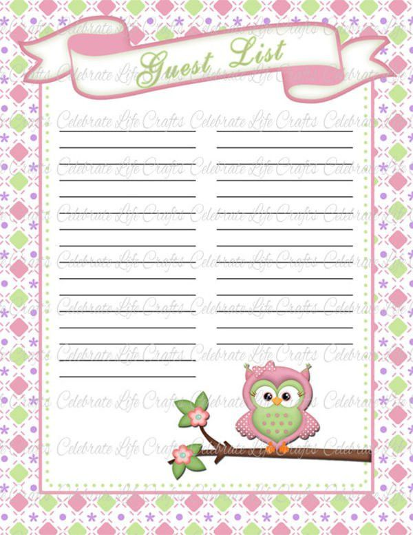 Baby Shower Guest List Template – 8+ Free Sample, Example, Format ...