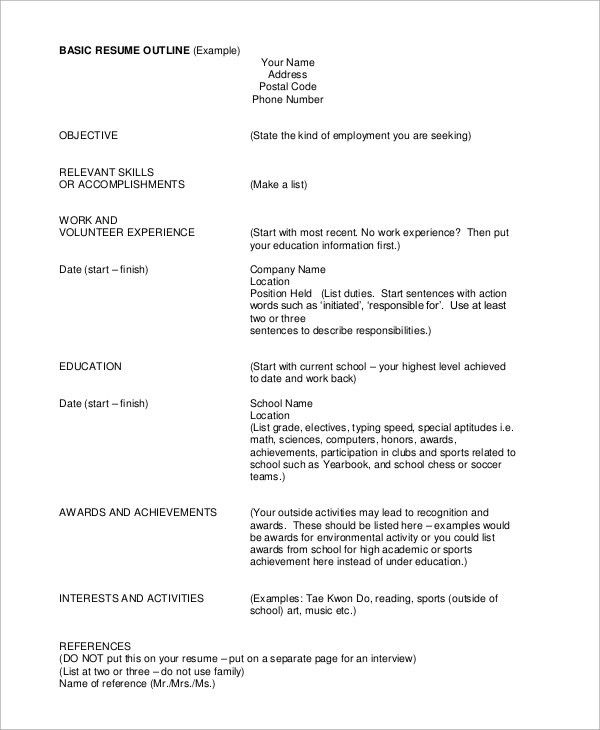 Examples Of Basic Resumes. Sample Basic Resume 21 Documents In ...