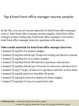 Hotel Front Office Manager | LinkedIn