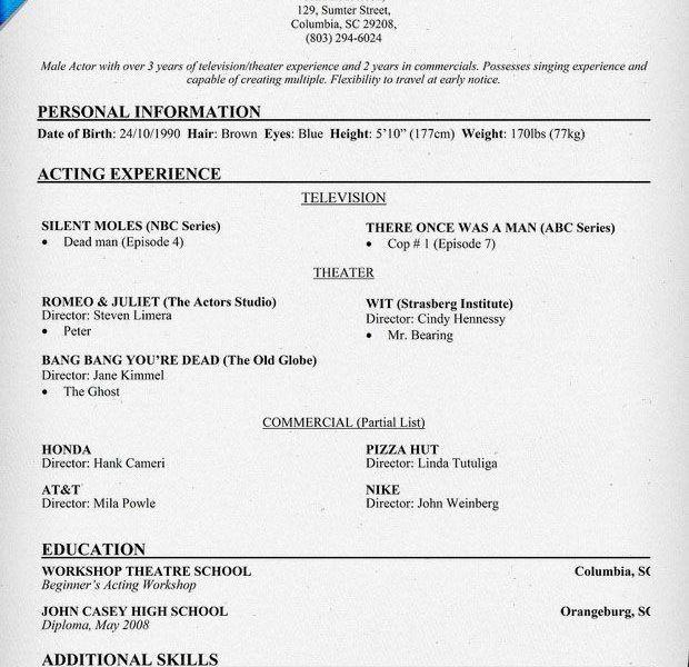 Download Sample Of Acting Resume | haadyaooverbayresort.com