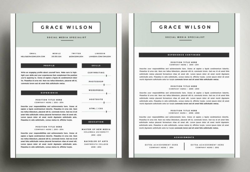 Creative Inspiration Pages Resume Template 2 The Best CV Resume ...