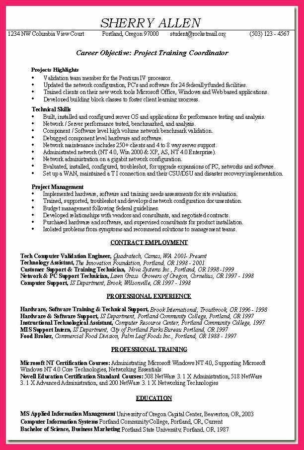 project coordinator resume | bio letter format