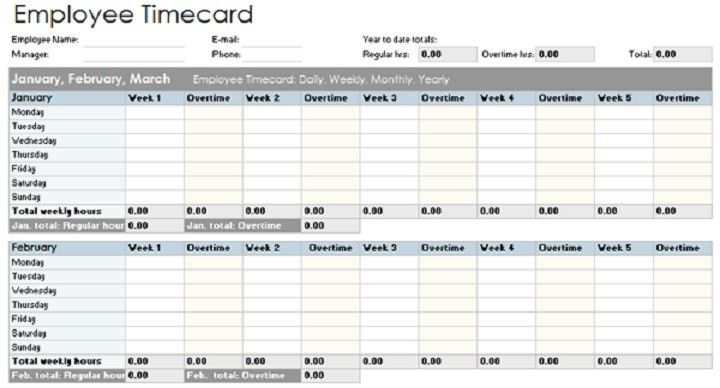 Printable Timesheets Timecards and Payroll Templates - Project ...