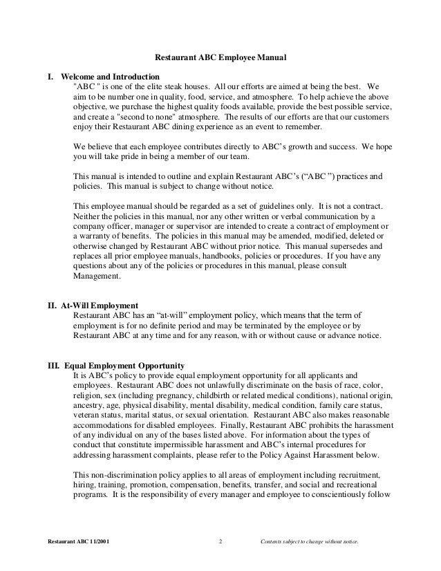 2001 Employee Manual