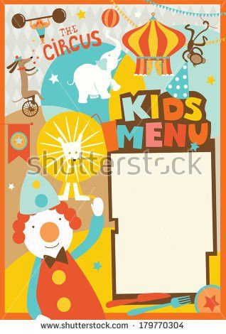 Kids Menu Template Circus Style Stock Vector 179770304 - Shutterstock