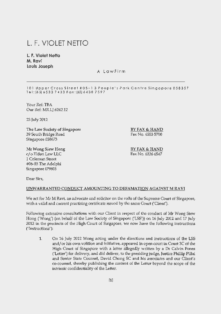 TOC News: Letter of Demand to Law Society Singapore and Mr Wong ...