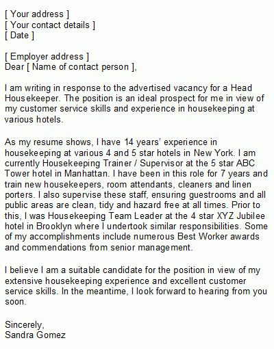 Professional Resume Cover Letter Sample | The sample housekeeper ...