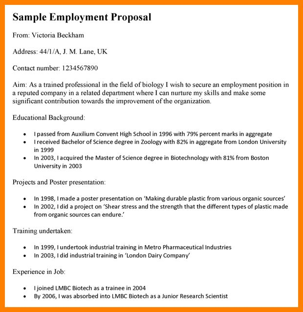 11+ job position proposal template sample | job resumed