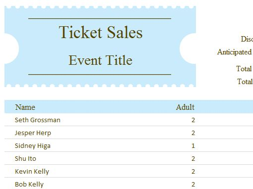 Ticket sales tracker - Office Templates