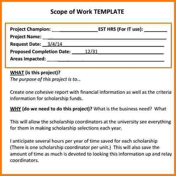 5 scope of work template | Receipt Templates