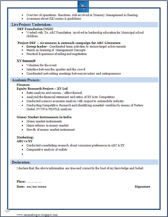 MBA Finance Fresher Resume Samples | Free Resumes Tips
