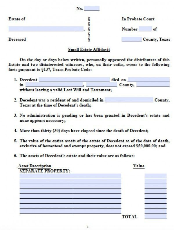 Free Texas Small Estate Affidavit Form | PDF - Word
