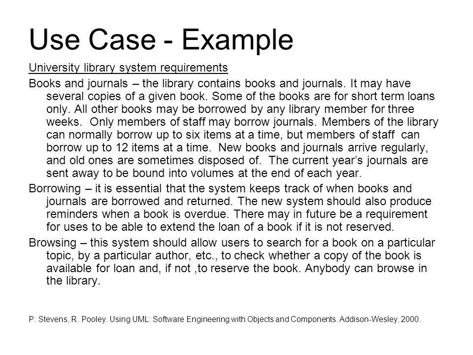Use Case - Example University library system requirements - ppt ...