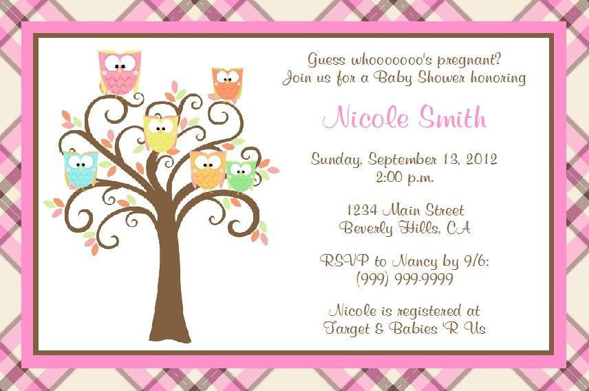Printable Owl Baby Shower Invitations Template | Best Template ...
