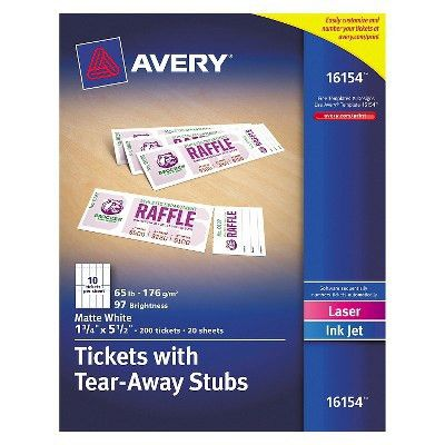 Avery® Printable Tickets w/Tear-Away Stubs, 1-3/4 x 5-1/2, Matte ...