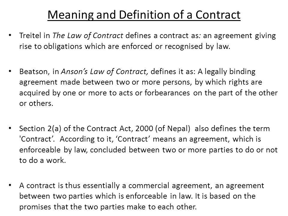 Meaning of Contract Law - ppt download