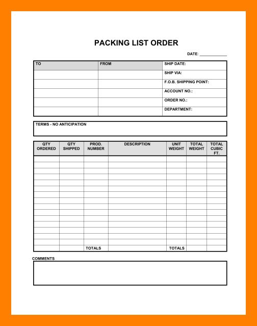 packing list word template