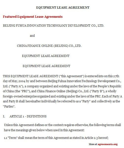 Equipment Lease Agreement, Sample Equipment Lease Agreement ...