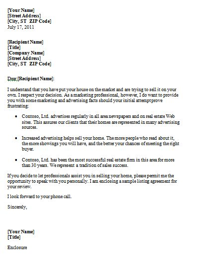 Sales Letter for Real Estate | Sample Format
