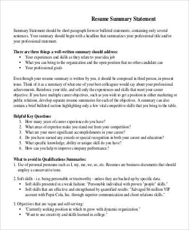 Resume Summary Statement Example - 9+ Samples in Word, PDF