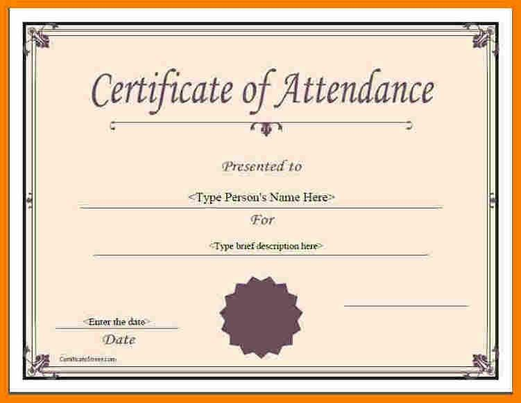 9+ certificate of attendance template | resume reference