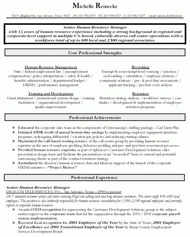 Human Resource Management Resume Examples | Samples Of Resumes