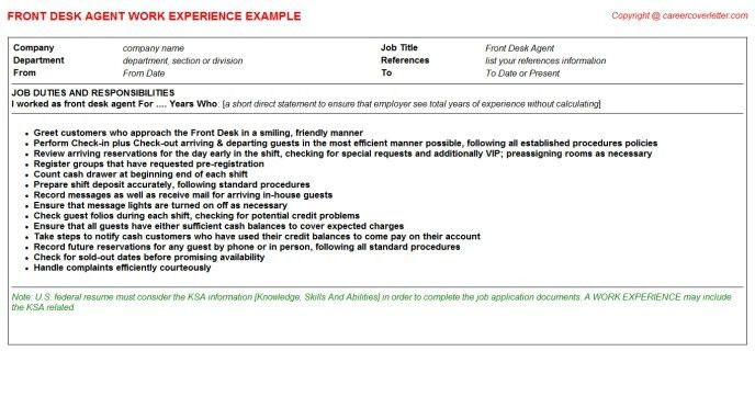 front desk agent resume sample professional hotel front desk