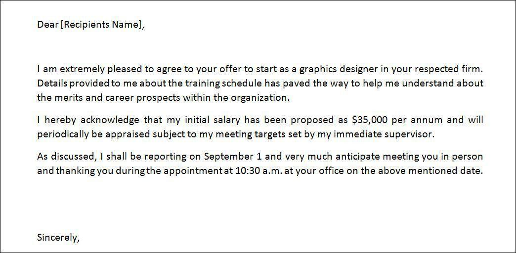 Job Offer Letter Content. Job Offer Letter From Employer Sample ...