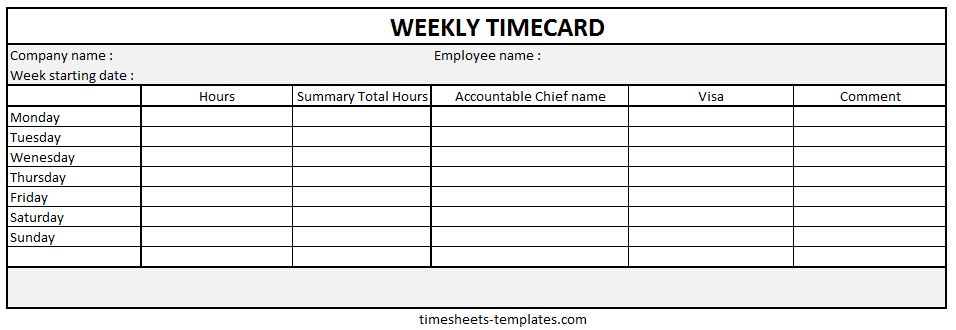 Ready-to-use Printable Weekly Time Card with hour work breakdown ...