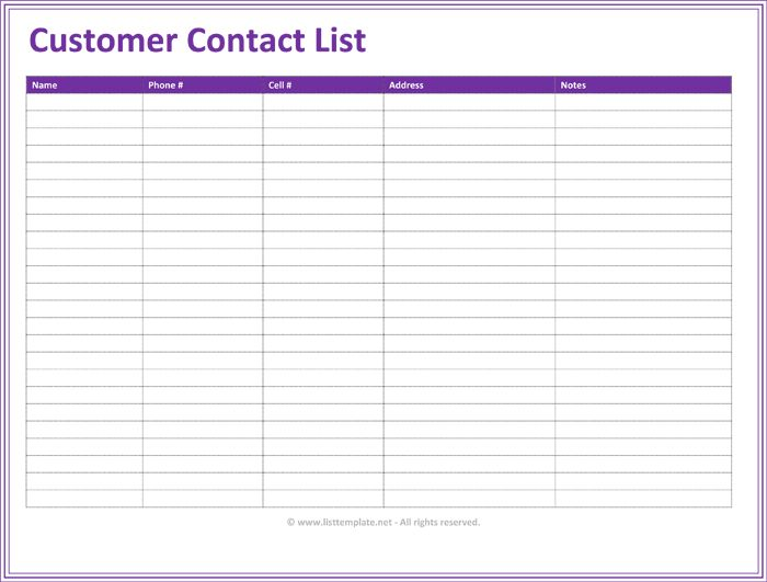 Customer Contact List Template - 5 Best Contact Lists
