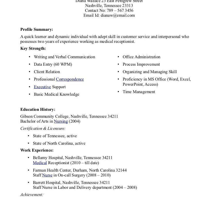 Extravagant Medical Secretary Resume 10 Resume Examples Career ...