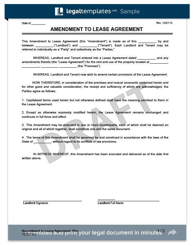 Create a Free Lease Amendment - Download & Print | Legal Templates