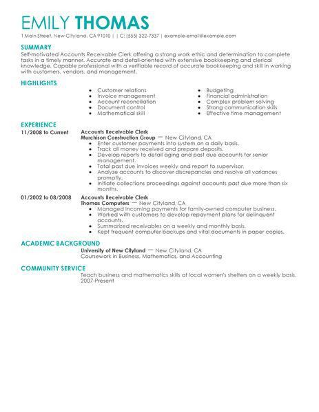 accounts receivable resume templates business proposal templated ...