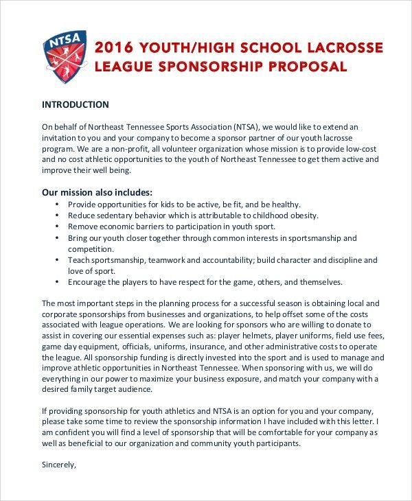 8+ Sports Sponsorship Proposal Templates - Free Sample, Example ...