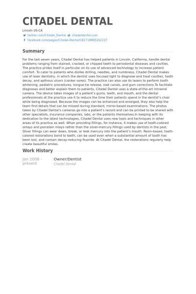 Owner/Dentist Resume samples - VisualCV resume samples database