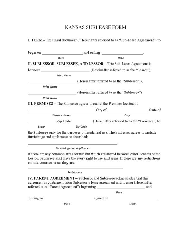 Kansas Rental Lease Agreement Templates | LegalForms.org