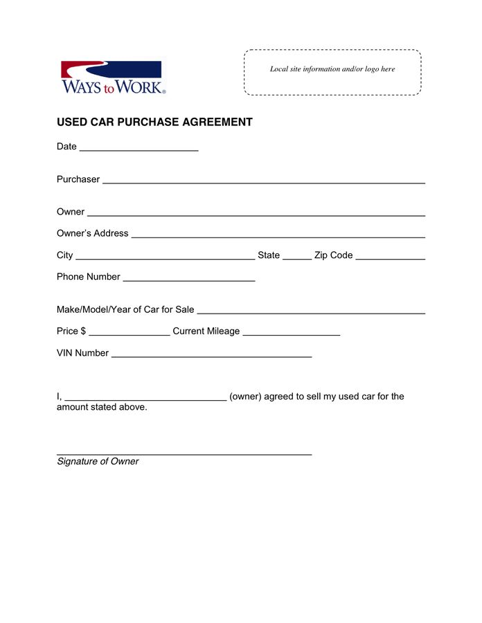 Used car purchase agreement in Word and Pdf formats