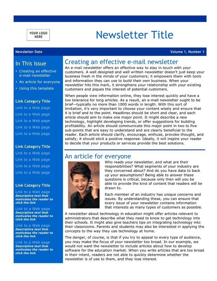 Email Newsletter Template - download free documents for PDF, Word ...