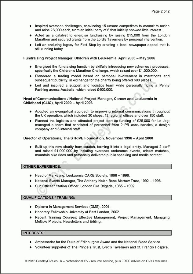 Example CVs / resumes, a before and after case study by Bradley CVs UK