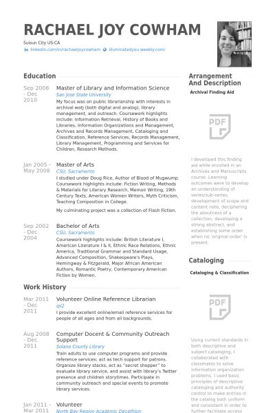 Librarian Resume Samples - VisualCV Resume Samples Database