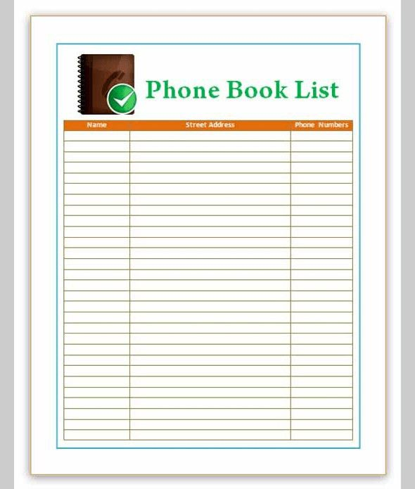 phone email contact list template