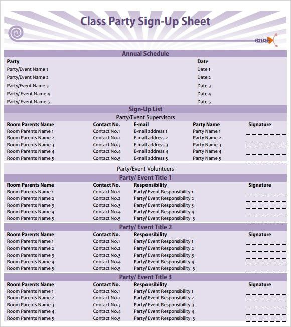 party sign up sheet template free