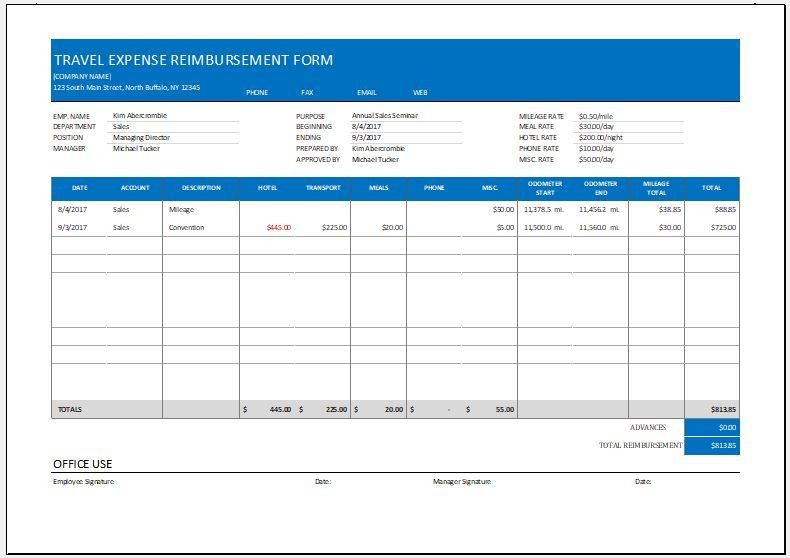 Expense Reimbursement Form Templates for Excel | Word & Excel ...