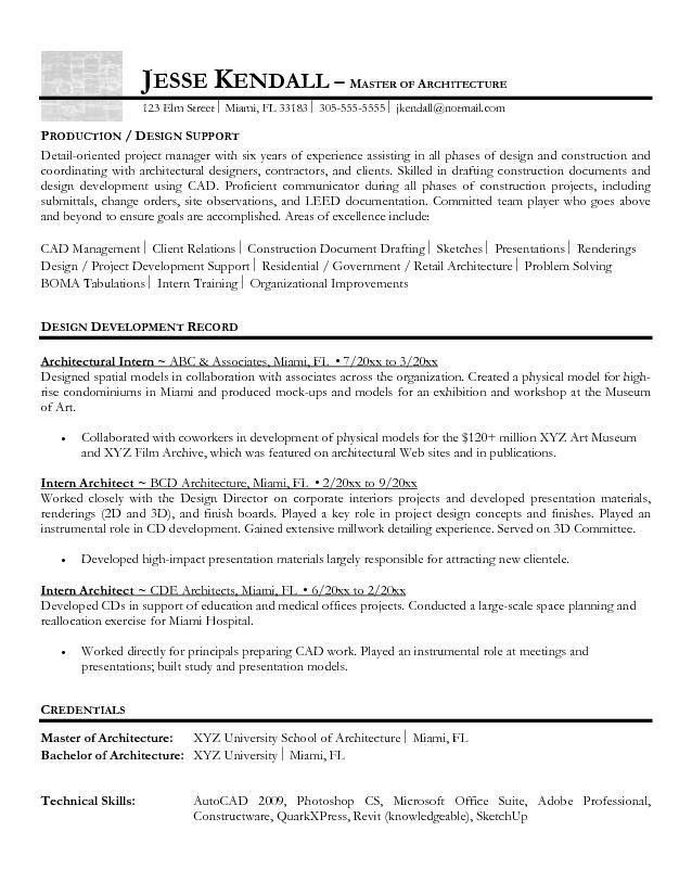 Free Intern Architect Resume Example