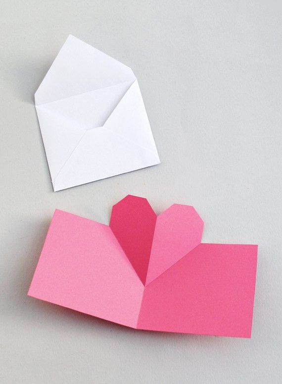 geometric heart: love letters // popup card | Heart cards, Card ...