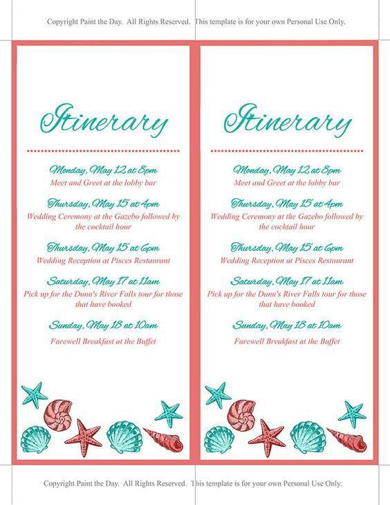 Beach Wedding Itinerary Template Wedding by PaintTheDayDesigns ...