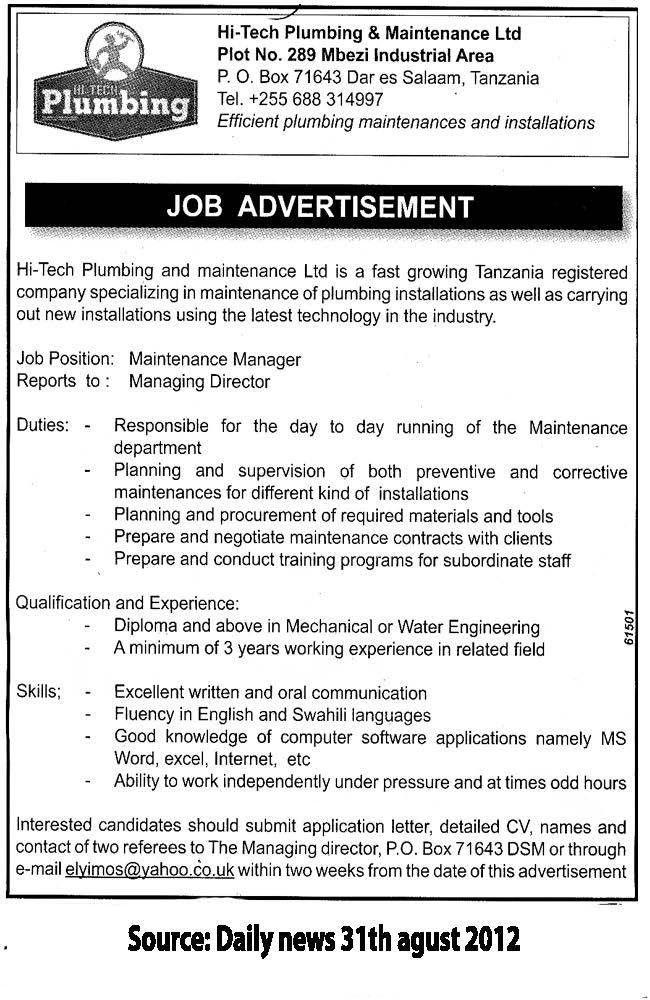 Maintenance Manager | TAYOA Employment Portal