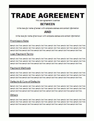 Trade Agreement Template | Free Word Templates