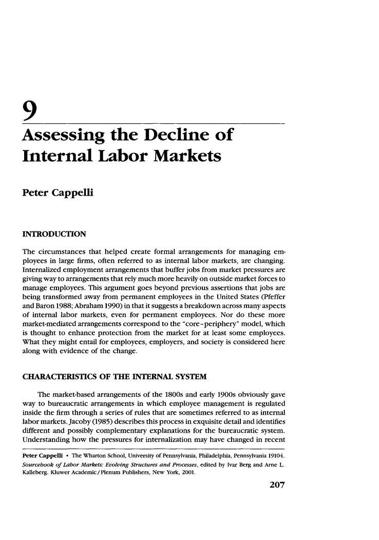 Assessing the Decline of Internal Labor Markets - Springer