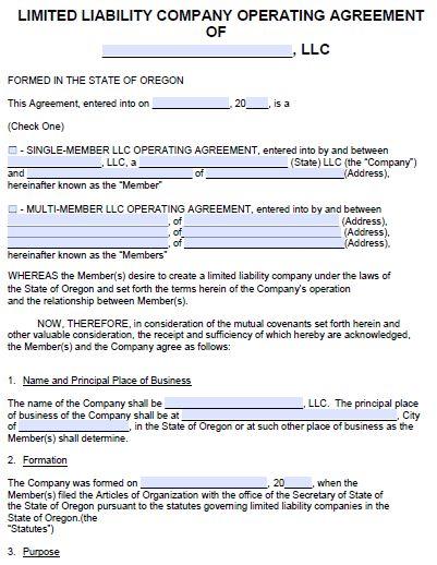 Free Oregon LLC Operating Agreement Template | PDF | Word |
